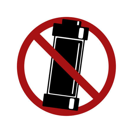 Prohibition of the use of batteries. Black silhouette of an alkaline battery in a prohibition sign. Danger pollution of nature. Vector element for icons, stickers, badges and your design.
