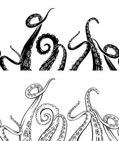 Set of seamless border of black silhouette and hand drawn sketches octopus tentacles. Creepy limbs of marine inhabitants. Vector object for frames, cards and your design.