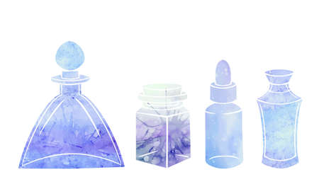Silhouette of bottles, flasks and jars with blue watercolor background. Containers for perfumes and medicines. Natural medicine. Potions and Alchemy. Vector object for recipes, banners and your design
