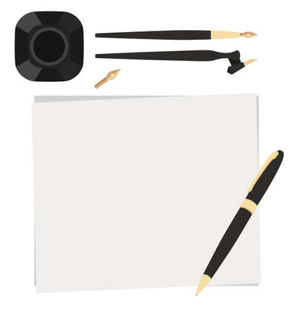 Set of flat stationery calligraphy top view. Pen, nibs, ink and paper on a white background. Vector elements for banners, cards and your design.