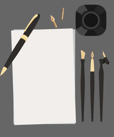 Set of flat calligraphy stationery top view. Pen, nibs, ink and paper on gray background. Vector elements for banners, cards and your design.