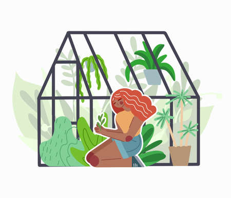 Red head girl care for home greenhouse with various plants. Glass orangery with flowers and grass. Hobbies and nature interest. Vector flat illustration for cards, stickers and your creativity.