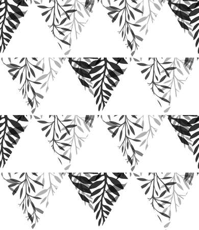 Black and white geometric natural pattern. Silhouette of fern with leaves and grass in triangles on a white background. Vector natural texture for fabrics, wallpapers and your creativity