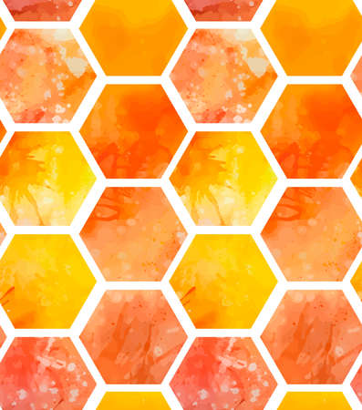 Seamless pattern with yellow and orange watercolor honeycombs with splashes on white background. Sweet honey and treats. Vector texture for wallpaper, backdrop, textile and your design
