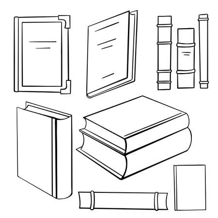Set of contour different books in various forms. Stacks and spines of books and notebooks. Knowledge and study. Vector objects