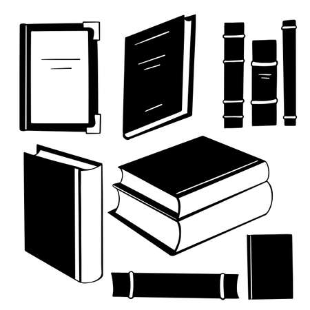 Set of black silhouette different books in various forms. Stacks and spines of books and notebooks. Knowledge and study. Vector objects Vektorgrafik