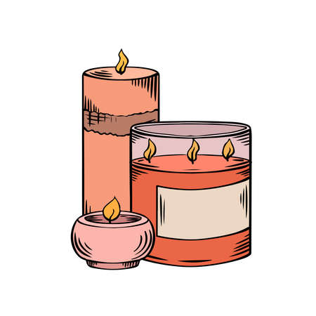 Relax candles. Colorful sketch with hatching. Various wax candles with glass on white background. Vector spa, relaxation, religion elements