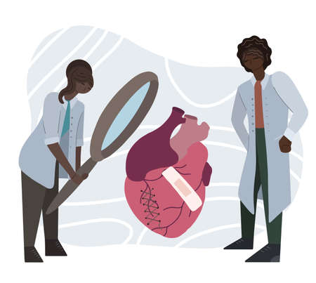 Flat illustration of a couple of African doctors examining a diseased heart through a magnifying glass. Scientists are studying heart disease. Drug invention. Vector illustration