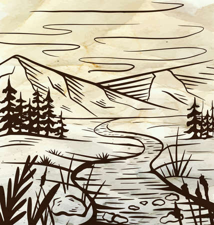 Nature sketch of a meadow with a river, mountains and firs on old paper. Tranquil peaceful wild landscape on parchment. Vector ink scribble element for labels, cards and your creativity Stock fotó - 155373684