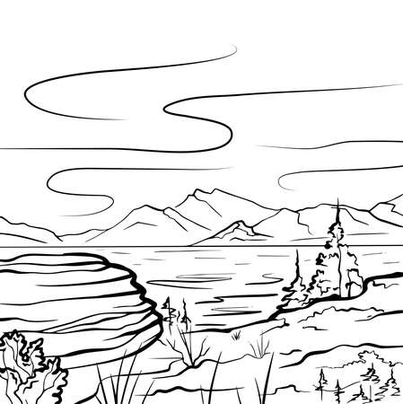 Nature sketch of a lake, mountains, stone and firs. Tranquil peaceful wild landscape. Vector ink scribble element for labels, cards and your creativity Stock fotó - 155373692