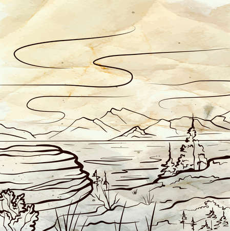 Nature sketch of a lake, mountains, stone and firs on old paper. Tranquil peaceful wild landscape on parchment. Vector ink scribble element for labels, cards and your creativity