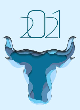 Vertical banner with silhouette of a bull head with paper cut layers. The symbol of the new year 2021. Buffalo with horns. Vector template of animal head for invitation, card and your designs Illusztráció