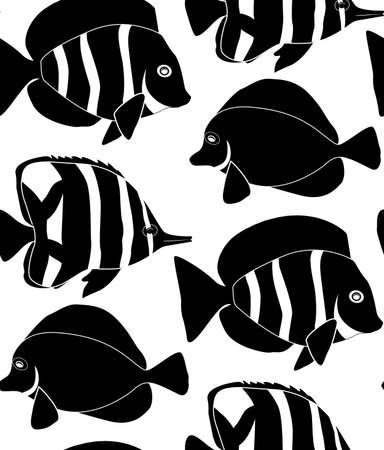 Seamless pattern of black silhouette of different tropical fish on white background. Pennant fish, royal angel. Marine inhabitants. Vector texture for wallpaper, fabric and your design Archivio Fotografico - 155388752