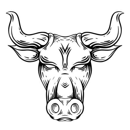 Outline engraving illustration of a bull head with hatching. The symbol of the new year 2021. Contour buffalo with horns. Vector illustration of animal head for tattoos, icons and your designs
