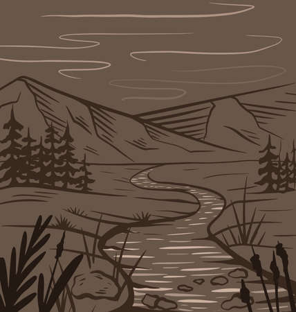 Nature sketch of a meadow with a river, mountains and firs in sepia on brown background. Tranquil peaceful wild landscape. Vector ink scribble element for labels, cards and your creativity