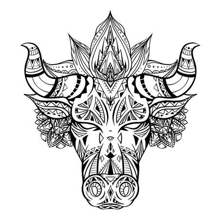 Outline illustration of a bull head with boho decoration and mandala. The symbol of the new year 2021. Contour native buffalo with horns. Vector illustration of animal head for tattoo and your design
