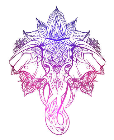 Contour gradient native elephant head with trunk, tusks and boho ornaments. Ganesha head with mandala. Vector color silhouette for tattoo, cards, banners and your creativity. Vector Illustration