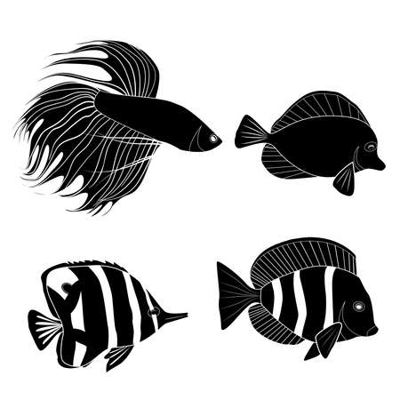Set of black silhouette different tropical fish. Fish rooster, pennant fish, royal angel. Marine inhabitants. Vector silhouette for icon, logo and your design