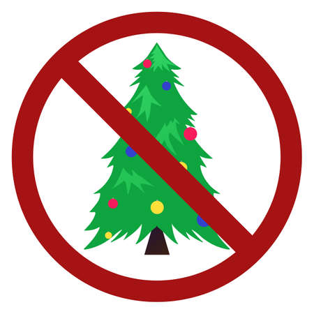Festive flat fir with balls in prohibition sign. Forbid on celebrations. Ban on Christmas. Vector sign for logos, icons, stickers and your design
