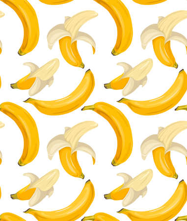Cartoon seamless pattern with juicy bananas on white background. Tropical trendy fruits. Vector contrast pattern for fabrics, wallpapers and your creativity.
