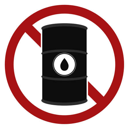 Ban on the use and storage of oil. No waste dumping. Vector prohibition sign with outline barrel with black oil for signs, stickers, posters and your design