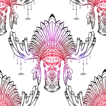 Seamless pattern with contour illustration of a moose head with antlers and an Indian cap made of feathers. Roach Chieftain. Boho vector neon texture for wallpaper, fabric and your design.