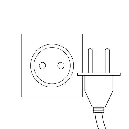 Contour illustration of a socket and plug. Equipment for electricity. Vector outline element for icons, banners and your design