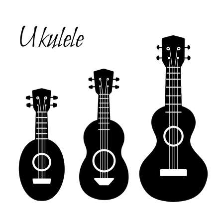 Set of black simple silhouette ukulele. Hawaiian music. Musical string instrument. Vector element for badges, banners, sticker and your design creativity