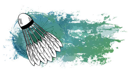 Contour sketch of a shuttlecock with a hatching on turquoise grunge trace with watercolor splashes. Equipment for sports games. Vector templates for logos, banners, cards and your design. 矢量图像