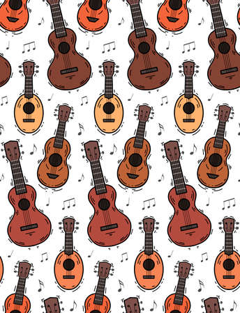 Seamless pattern with contour ukuleles with musical notes on white background. Hawaiian music. Musical string instrument. Seamless cartoon texture for fabric, wallpaper and your creativity 向量圖像