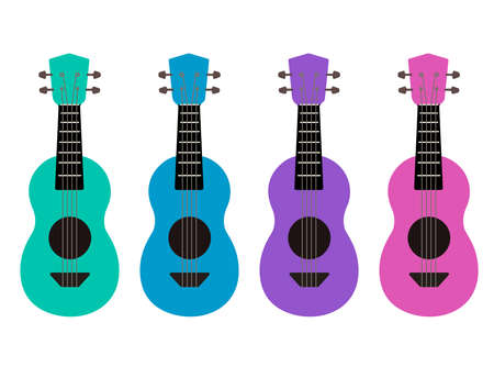 Set of flat multicolor cartoon ukulele. Hawaiian music. Musical string instrument. Vector element for postcards, banners, sticker and your creativity