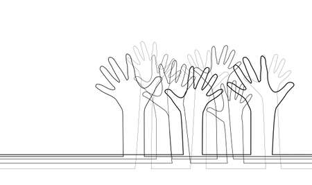 Outstretched arms up. Contour illustration of various hands. Society and community of different people. Democratic voting. Vector outline template for banners, cards and your design.