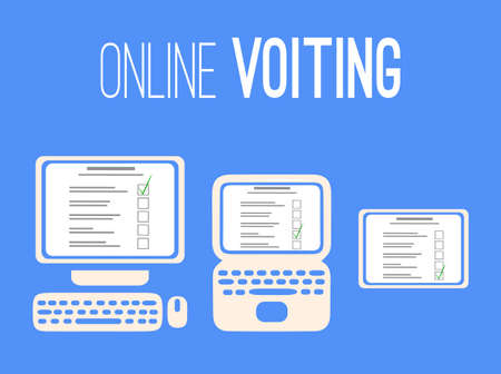 Online voting in self isolation. Silhouettes of a computer, laptop and tablet with a voting list on a blue background. People choice. Vector postcard for banners, templates and your design.