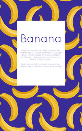 Vertical postcard with various bananas on blue background and place for text. Tropical fruits and healthy food. Vector template for menus, cards, recipes and your design 向量圖像