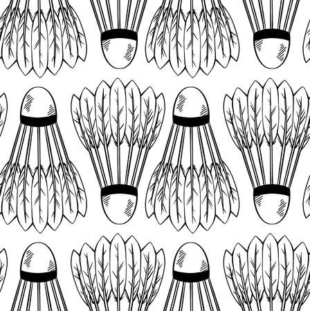 Seamless pattern with a sketch of shuttlecocks for playing badminton in a row on white background. Sports equipment. Vector black and white texture with strokes for fabric, wallpaper, wrapping paper