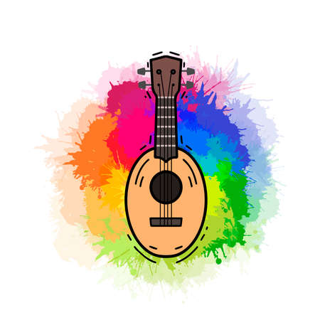 Contour color ukulele on rainbow watercolor splashes. Hawaiian music. Musical string instrument. Vector outline element for postcards, banners, sticker and your creativity