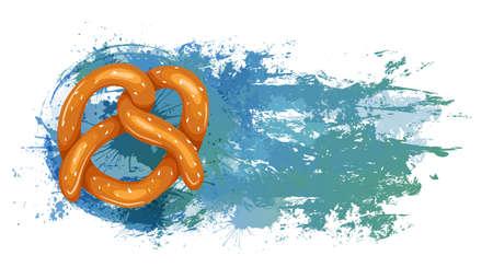 Bavarian pretzel treat on blue grunge scratches and splashes. Baking bun with sprinkles. German food at Oktoberfest. Vector cartoon illustration for menu, recipe, postcards and your creativity 向量圖像