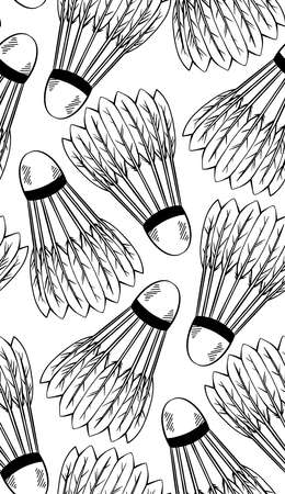 Seamless pattern with a sketch of shuttlecocks for playing badminton on white background. Sports equipment. Vector black and white texture with strokes for fabric, wallpaper, wrapping paper