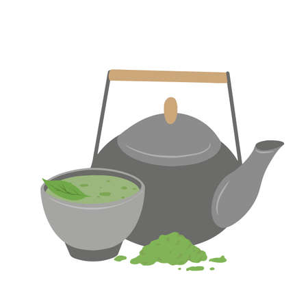 Japanese matcha green tea powder. Traditional tea ceremony. Cup of tea, matcha powder, clay teapot and green leaves. Vector flat illustration for menus, recipes and your creativity