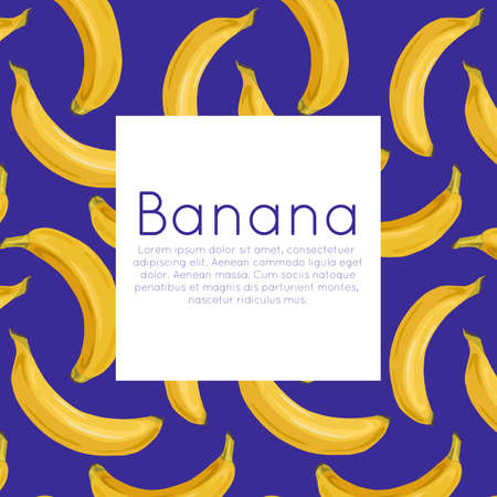 Square postcard with various bananas on blue background and place for text. Tropical fruits and healthy food. Vector template for menus, cards, recipes and your design