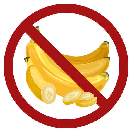 Bunch of cartoon banana in red prohibition sign. Danger of allergies from tropical fruits. Ban food. Vector flat forbidden sign for stickers, badges and your design.