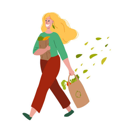 Walking happy woman with purchases in her hands and foliage. Buying food and vegetables. Vegetarianism and Zero Waste lifestyle. Vector flat illustration for postcards, banners and your creativity. 向量圖像
