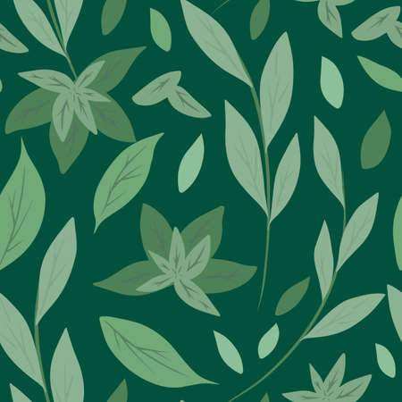 Seamless pattern with simple green leaves and branches on green background. Herbal natural background. Green tea and mint. Vector flat hand drawn texture for fabrics, wallpapers and your design. 向量圖像