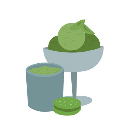 Japanese matcha green tea powder. Sweets from the matcha. Cup of tea, ice cream, cookie and green leaves. Vector flat illustration for menus, recipes and your creativity
