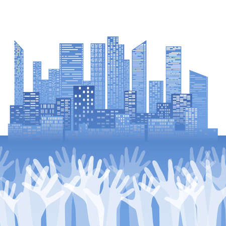 Silhouette of stretched up hands on city of skyscrapers background. Democratic voting. Peoples choice. Voting for everyone. Vector element for cards, templates, banners and your creativity.