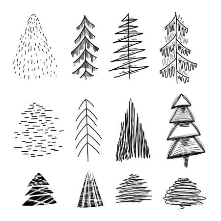 Set of various simple lagom firs with hatching. Hand-drawn Christmas trees. Vector ink element for cards, stamps, banners and your creativity