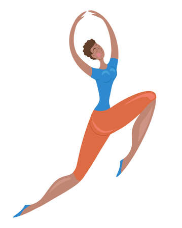 Happy african sporty jumping girl. Dancing confident woman. Body positive and active healthy lifestyle. Vector flat element for cards, banners and your design.