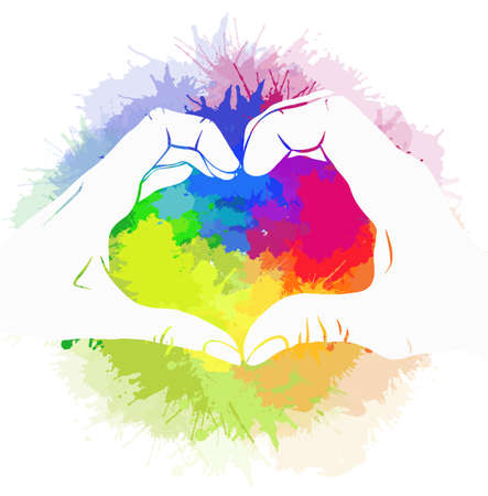 Silhouette pair of human hands on rainbow watercolor splashes. Greeting card love of same sex pair for valentines day. Pride and freedom in feelings. Lgbt couples. Vector picture for cards, banners