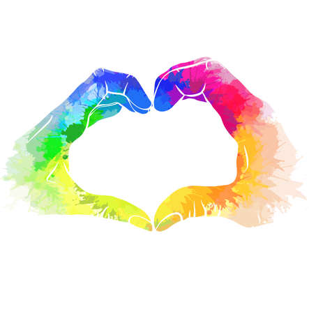Silhouette pair of human hands with rainbow watercolor splashes. Greeting card love of same sex pair for valentines day. Pride and freedom in feelings. Lgbt couples. Vector picture for cards, banners 일러스트