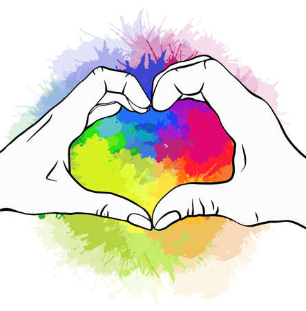 Sketch of pair of human hands on rainbow watercolor splashes. Greeting card of love of human pair for valentines day. Pride and freedom in feelings. Lgbt couples. Vector picture for cards, banners 일러스트